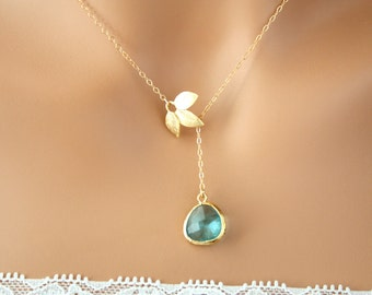 Lariat Y Necklace , Leaf with Stone in bezel - Gold Filed , Wedding jewelry , Mother's Day gift , Romantic Anniversary gift , Birthday gifts