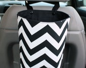 Travel Trash Container, Trash Bag, Car Accessory, Chevron Fabric, Duct Cloth, Kam Snaps, Black & White Chevron
