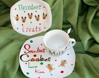 Personalized Santas Cookies plate, reindeer plate and milk mug 3 piece set