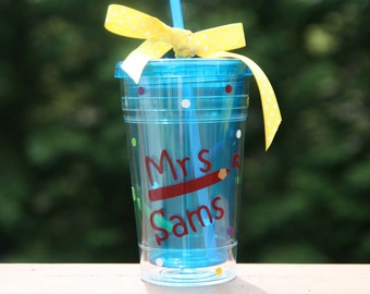 Personalized teacher gift - 20oz Insulated cup with colored pencils, swirls and polka dots