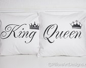 King and Queen His Hers Pillow Covers with Crown Black and White Hand Painted Fully Lined Made in Canada