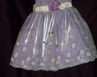 20% off  toddler size 2T, lavender n white, ribbons and embossed tulips+ FREE HEADBAND with lg flower.baby dress,  girl dress