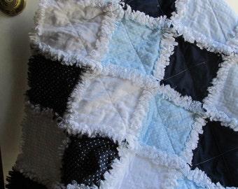 Baby boy rag quilt,  gingham,  polka dots, baby blue, navy blue
