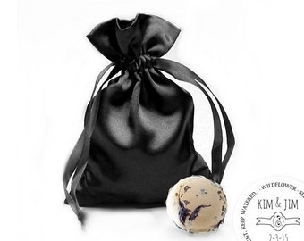Goth Wedding Black Satin Pouch 50 Goth Theme Wedding Favors with Botanical Seed Bomb Balls and Cards Gardening