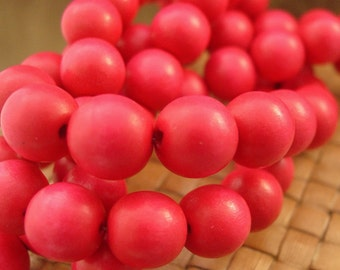 15 in strand 12 mm Round Wood Beads, Dark Pink Color