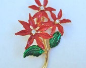 Brooch Poinsettia with Rhinestones and Red & Green Enamel Vintage