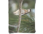 Fleece Blanket -  Bird in Tree - Nuthatch - Tree Branches - Decorative Nature Fleece Blanket - Baby Blanket - Medium Large Blanket