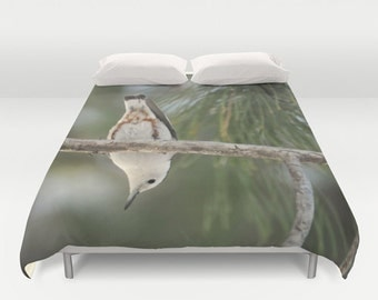 Duvet Cover - Comforter Cover - Nuthatch Bird in Tree - Green - Nature Bedding - Blanket Cover - King Queen Full Twin