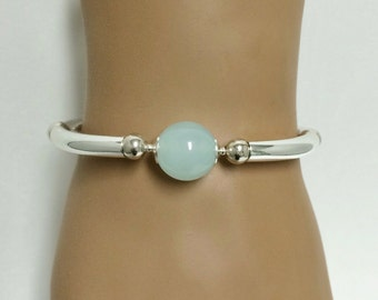 Aqua Ball Bowl Oval Curved Tube Bangle Cuff Bracelet ... Gift for Her / Statement Bracelet
