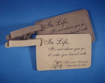Leather Luggage Tags, 75 Custom WEDDING FAVORS personalized with your design. Wedding favors for Destination Wedding. Save the Date!