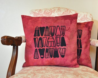 """Cranberry Dyed Pillow Cover with Blue Ink Shuttlecock Badminton Birdie Screen Print Design - 16"""" x 16"""""""
