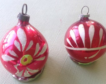 Two Small Vintage Glass Christmas Ornaments