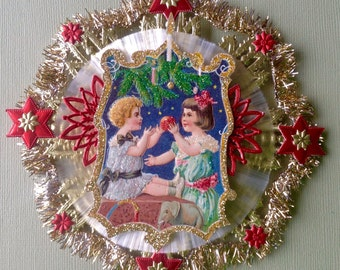 Vintage Look Christmas Ornament Victorian-Vtg.1909 Postcard Kids, German Dresdens, German Fringe Tinsel, Spun Glass Circle