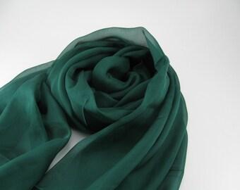 Silk Chiffon Scarf --- Emerald