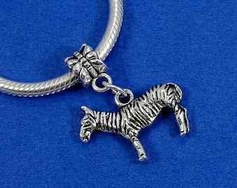 Zebra European Dangle Bead Charm - Silver Zebra Charm for European Bracelet