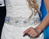 Wedding Dress Gown Beaded Jeweled Crystal Belt Sash