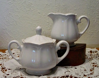 White Ironstone Cream and Sugar - Federalist Japan - Vintage Stoneware - Farmhouse Home Decor