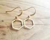 Simple Hammered Brass Hexagon Bee Honeycomb Earrings