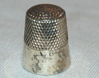Vintage / Antique / Sterling / Thimble / Ketcham & McDougall / Silver / Sewing / Tool / Handwork / 8