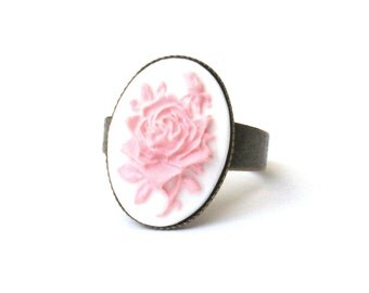 Dainty English Rose Cameo Ring, Flower Ring, Bronze Ring, Pink Rose Ring, Pink and White