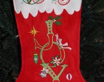 Joy Wool Felt Christmas Stocking