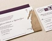 Vintage Map Wedding Invitation, Letterpress printed SAMPLE