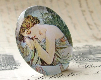 Art Nouveau cabochon, sleeping maiden, handmade 40x30 40x30mm 30x40mm 40 30 mm glass oval cabochon, pastel green sage, pastel orange