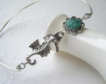 Seahorse Bangle Seahorse Bracelet Stacking Bangle Bracelet Hippocampus Blue Silver Seahorse Charm Bracelet Custom Bangle Twisted Silver