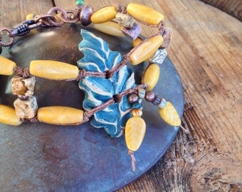 Leaf Out Bracelet, Yellow Jasper, Teal Leaf, Picture Jasper, Hand Knotted, Earthy Jewelry by YaYJewelry