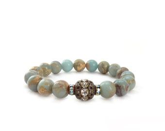 Pale Blue Bracelet - Aqua Terra Jasper Layering Bracelet - Bronze Rhinestones - Elastic Bracelet