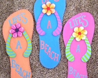 Large Flip Flop Plaque Life's a Beach Hand Painted on Reclaimed Wood Beach Pool Decor Bright Blue