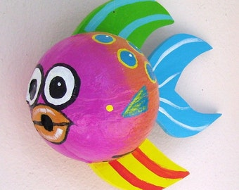 Coconut Fish Tropical Fish Hand Painted and Hand Crafted Pink Palm Seed Pod
