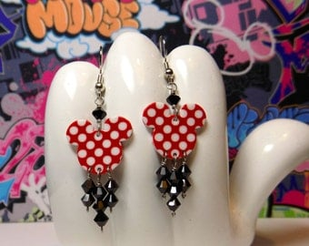 Minnie Mouse Red and White Polka Dotted Double Sided Print Dangle Earrings