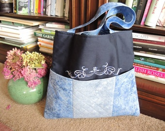 Beautiful Blue Padded and Quilted Tote,  Bags and Purses, Women