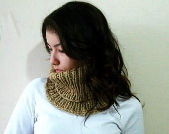 Light Brown Knit  Scarf, Chunky Circle Cowl, Thick Circle Cowl