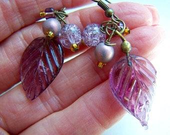 Lavender Purple Leaves Bead Dangle Earrings Doodaba