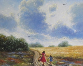 Mother, Daughter Autumn Walk Original Oil Painting 18X24 mom, daughter, big sis, little sister, country field, gold, blue, Vickie Wade