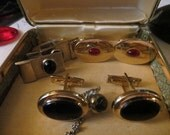 3 pair  1950s  cuff links