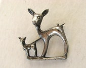 Vintage 30s Mexico Deer Silver Brooch, 900 Silver Early Mexican Pin