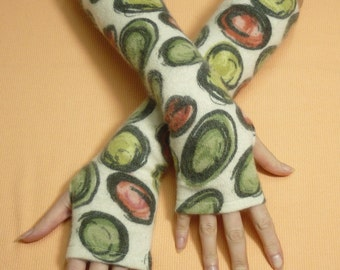 Long Upcycled Fingerless Gloves, Angora Sleeves,Green red Ivory Soft Warm Women Armwarmers, recycled Knit Sleeves