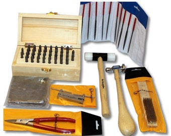 BIJ-884, Metal Stamping Tool Kit with Alphanumeric Stamps and Assorted Tools and Anvil