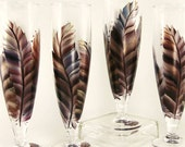 Hand Painted Beer Glasses - Burnished Feathers Masala Red Copper Bronze Blue, Set of 4 READY TO SHIP - Hand-Painted Pilsner Craft Beer Glass