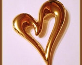 Large Heart Brooch, Signed PD, Abstract, Valentines, Shiny Gold tone, Vintage late 1980's to 1994