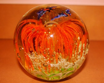Large Glass Paperweight, Home Decor, 4 lbs. 12 oz., Heavy weight, Vintage 1992