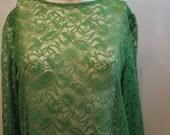 vintage. 60s Green MOD Lace Dress //  Tent Dress // Free Size