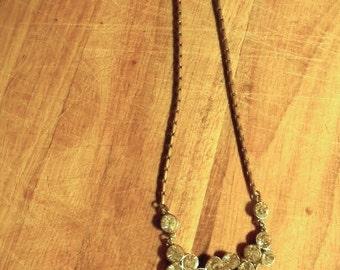 vintage. 60s Rhinestone Statement Necklace // Rare Brass
