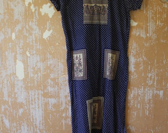 Vintage. 70s Indian Blue 70s Hippie Shirt Boho Long Tunic Dress // S to M
