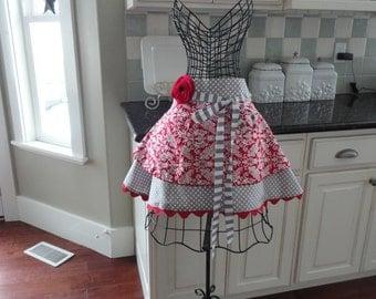 Pretty Cranberry Damask~   Sadie Style Women's HALF Apron ~ 4RetroSisters