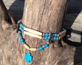 bone hair pipe choker native american style, blue, ivory, black deerskin leather, turquoise, antiqued, thunderbird, thunder bird, two