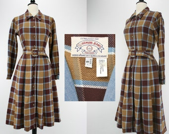 Vintage Dress Giorgio Armani Armani Jeans Label Plaid Brushed Cotton Twill Brown Blue Designer Shirtwaist Full Pleated Skirt 1980s Dresses